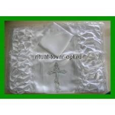 покрывало атласное с двумя драпировками и вышитым крестом серебро