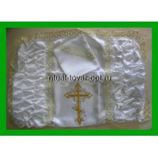 покрывало атласное с двумя драпировками и вышитым крестом золото