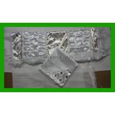 покрывало атласное с двумя драпировками с серебряным накатом